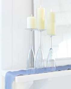 Turn your glassware upside down and create the most gorgeous and simple elegance. Tons of great ideas without spending a penny!