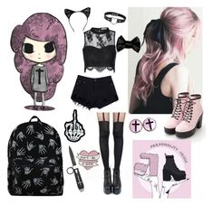 """pastel goth"" by cuddlingmuke ❤ liked on Polyvore featuring Pretty Polly and claire's"