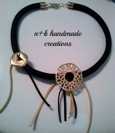 Black handmade necklace made of climbing by thenkcreations on Etsy