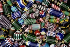 Chevron Bead Mix   One of the photos from Jack DeWitt beautiful series of old bead.  Many of the photographs are beads and bead sample cards from the collection of John and Ruth Picard and can be seen at their bead museum in Carmel Valley California.   Jack offers these bead photo either as a blank cards with envelope, or   some are also available as striking enlargements.