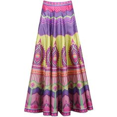 Multicolor long skirt with horizontal print panels ($280) ❤ liked on Polyvore featuring skirts, patterned skirts, multi color maxi skirt, purple skirt, pink skirt and long skirts
