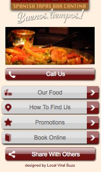 "Spanish tapa bar / restaurant mobile website design.   Thumb friendly navigation page giving easy access to relevant internal or submenu pages.  Most important call to action ""call us"" conveniently positioned at the top of the page i.e. make it prominent & easy to call.  Use of strong images to create an impression and to grab mobile visitors' attention.  Navigation buttons linking to content that a person on a mobile and on the move is most likely to want."