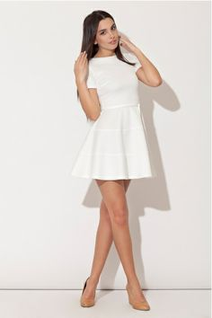 This Ecru Tie-Waist Fit & Flare Dress is Gorgeous and On Sale on zulily by joining when linking by this post. Cute Dresses, Dresses For Work, Skater Dresses, Dresser, Going Out Shirts, Knee Length Shorts, White Caps, Glamour, Mademoiselle