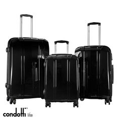 Condotti Lite - 3 Piece Lightweight Luggage Set Made from polycarbonate a material which is strong, light and resistance As light as a feather: Small - Medium- Large - You will find a integrated semi fixed TSA combination lock to protect your luggage Lightweight Luggage Sets, Combination Locks, 3 Piece, Feather, Strong, Medium, Quill, Feathers, Medium Long Hairstyles