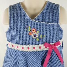 5a9736621fe93 Details about Youngland Girls Dress Size 6 Blue on Blue Textured Gingham  Ribbon Embroidery
