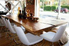Natural wood dining table + mid-century dining chair set