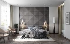grey-and-white-bedroom-hexagonal-wall.jpg (1200×757)
