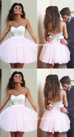 Pretty Pink Short Homecoming Dress With Bow Belt,Handmade Homecoming Dress For Teens Mend My Dress Simple Homecoming Dresses, Hoco Dresses, Dresses For Teens, Modest Dresses, Cheap Dresses, Evening Dresses, Flower Girl Dresses, Dress With Bow, The Dress