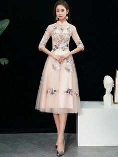 3f048a2b889 Bridesmaid Pink Embroidered Tulle Qipao   Cheongsam Dress