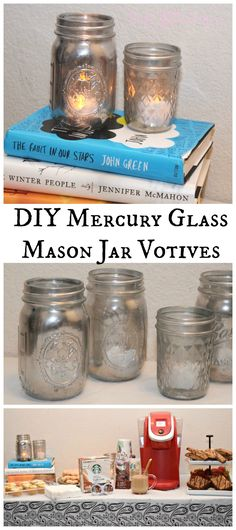See how to upcycle some jars into Mercury Glass votives! Check out these easy DIY Mercury Glass Mason Jar votives to make for your next book club coffee and dessert table! #ad #StarbucksCaffeLatte #MyStarbucksatHome