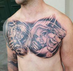Peito Chicano Style Tattoo, Chicano Tattoos, Skull Tattoos, Body Art Tattoos, New Tattoos, Sleeve Tattoos, Tattoos For Guys, Cool Tattoos, Catrina Tattoo