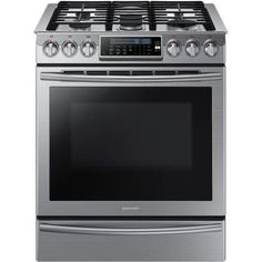 Samsung 30 in. 5.8 cu. ft. Slide-In Gas Range with Self-Cleaning Convection Oven in Stainless Steel-NX58H9500WS - The Home Depot