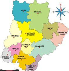 Mapa administrativo do distrito de Bragança