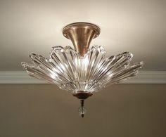 "Vintage Glass SUNBURST Starburst Antique Light 1930's Ultra Art Deco Ceiling Fixture Rewired LARGE 16.5"""