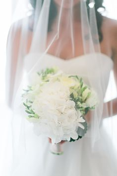 Gorgeous bridal bouquet with hydrangea and freesia Photography by: Le Secret d'Audrey
