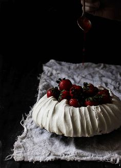 Whipped Goat Cheese and Strawberry Pavlova