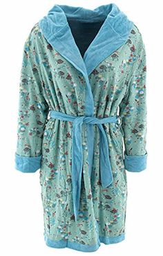 Munki Munki Womens Frogs Turtles Blue Reversible Bathrobe LXL * You can get additional details at the image link.