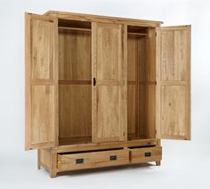 Western Oak Triple Wardrobe Every piece within the Western Oak range is carefully made with dovetailed drawers and comes complete with solid oak drawer bases and cabinet backs. The Western Oak range has classically-styled metal handles, which offset the light oak timbers beautifully.