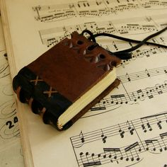 Miniature Book, Brown Vintage Leather Journal  Found in Venice