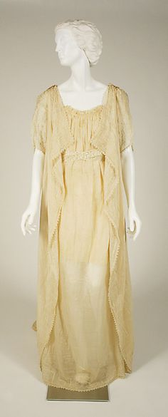 Cream-colored embroidered silk and cotton tea gown with pearl beads (front view), American or European, late 19th-early 20th C. Aesthetic style.