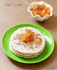 Easy set dosa with spicy red coconut chutney is a delicious breakfast to kick start your day.