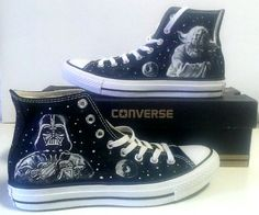 RUSH Star Wars Yoda Vader Fanart Painted Converse All Star Hi Tops M+W+Y Sizes…