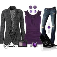 """""""Amethyst & Grey"""" by stay-at-home-mom on Polyvore"""