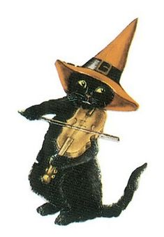 halloween black cat witch hat vintage postcard