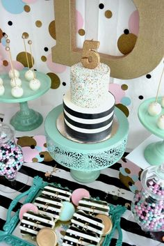 Confetti themed birthday party with turquoise, pink and gold.. Love the colors!