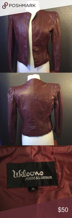 Burgundy Wilson Leather Jacket This gem is a genuine Wilson Leather jacket equipped with shoulder padding it could be the perfect fit for you or a love one ! ⚡️remember my shipping is fast and efficient and I'm more than willing to negotiate prices !⚡️ Wilsons Leather Jackets & Coats Blazers