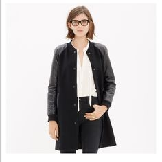 Madewell Varsity Leather Sleeve Coat Beautiful mix of textures, worn only once, adds a touch of effortless cool to any outfit! Madewell Jackets & Coats