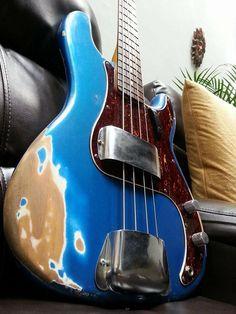 Fender American Standard Precision bass. Placid blue relic paint job