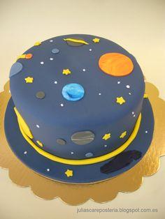 Boys 1st Birthday Party Ideas, Baby Birthday Cakes, Mickey Birthday, 1st Boy Birthday, Birthday Parties, Solar System Cake, Science Cake, Planet Cake, Galaxy Cake