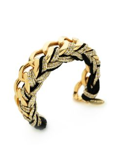 Gold & Black Cuff Bracelet by Ettika Jewelry at Gilt