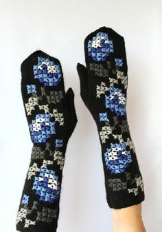 Hand Knitted Mittens, Women, Accessories, Gloves & Mittens, Black, Blue, White,Gray, Rose, Cross Stitch Embroidered, Long, Elegant, Cozy