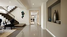 Architecture, Adorable Architectural Designs Of Vetra By Carlisle Homes With Modern Wooden Stair Rug Carpet Lighted By Ceiling Lamp Porcelain Floor Wall: Inspiring Spacious Home with Modern Design and Cool Color Brisbane, Melbourne Australia, Carlisle Homes, Modern Stairs, New Home Designs, Finding A House, Elegant Homes, Gold Coast, Stairways