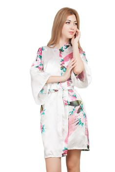 Flower Mid-sleeve Sexy Women Deep-V Nightwear Robes Navy Blue Satin Kimono  Dress Gown Female Casual Bathrobes Sleepwear 97949bd9e