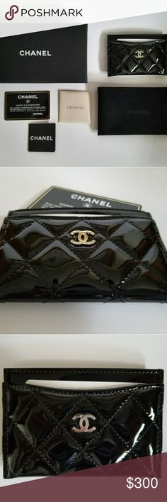 "Chanel Patent Leather Cardholder Authentic Chanel cardholder with classic quilted stitching and silver ""CC"" logo in Patent Black. Comes with certificate of authenticity, soft- touch pouch, box and all original info and care leaflets. SUPER soft lambskin leather and felted interior. Received this as a employment anniversary gift while working for the brand but have no need for it. NEVER been used or out of box for more than pictures. CHANEL Accessories Key & Card Holders"