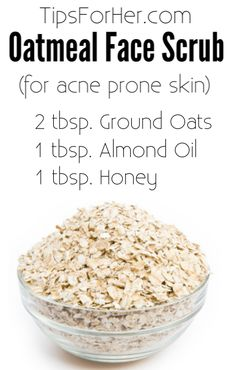 DIY Oatmeal Face Scrub for removing dead skin cells and helping to clear up acne.