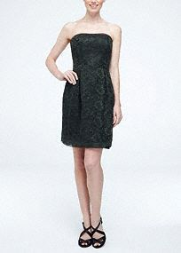 Ultra-feminine and super sweet, your bridesmaids will love to wear this short lace dress over and over again!  Strapless contrast corded lace bodice features organza detailing along the neck and hemline.  Natural waist creates a flattering silhouette.  Fully lined. Back zip. Imported polyester. Dry clean only.