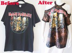 Zerschnittene Shirts, Diy Cut Shirts, Ripped Shirts, T Shirt Diy, Wish Clothing, Clothing Hacks, Sewing Clothes, Diy Clothes, Iron Maiden