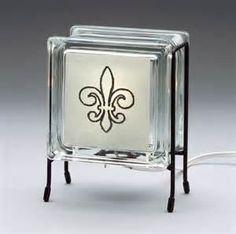 Fleur de lis glass block nightlight made from by Glowblocks, $46.00