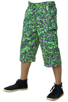 Featuring: 2 front pockets, 2 zip pockets on leg & 2 zip back pockets. Elasticated waistband for super comfy fit, plastic key holder. Secure clip & magnetic closing on waistband. Psychedelic Fashion, Long Shorts, Cyber, Harem Pants, Lime, Comfy, Plastic, Key, Pockets