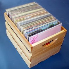 LP records in crates - especially the old, wooden milk crates.