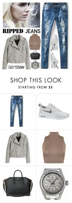 """Ripped jeans"" by cherrysnoww ❤ liked on Polyvore featuring NIKE, H&M, WearAll, Givenchy and Rolex"