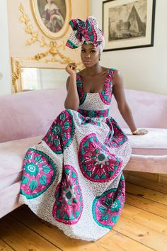 A stunning example of handmade African fashion, the Sotho maxi dress is bold, beautiful and perfect for showing off your curves. African Dresses For Women, African Print Dresses, African Attire, African Wear, African Fashion Dresses, African Women, African Clothes, African Style, African Inspired Fashion