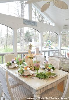 A Spring Table Setting with the Easter Bunny!!! Bebe'!!! Darling Easter Centerpiece and Tablescape!!!