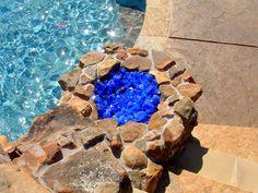 Stone Fire Pit Glass Rock Fireplace Glass Rocks, Fire Pit Glass Rocks, Fire Pit With Rocks, Rock Fireplaces, Fire Pit Designs, Water Slides, Fireplace Design, Southlake Texas, Pools