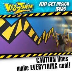 Caution lines make EVERYTHING cool! - INSTAGRAM VIDEO - (click to play) -  for full description follow Instagram Link -  #kidsetdesign #kidmin #kidschurch #vbs #kidsministry