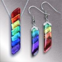 Rainbow Spectrum Dichroic Fused Glass Pendant and Earrings SET